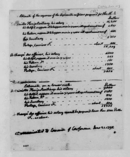 Thomas Jefferson, June 21, 1790, Estimated Costs of Proposed United States Diplomatic Missions