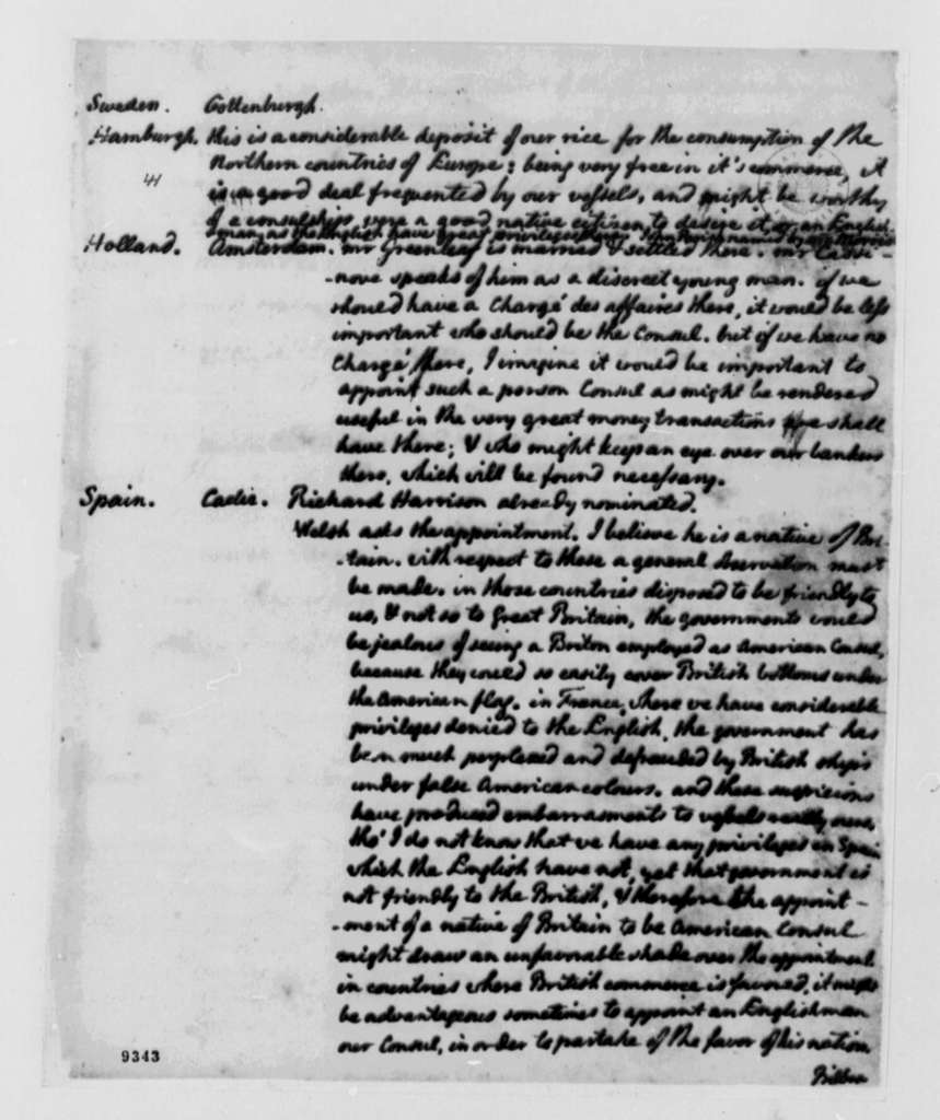 Thomas Jefferson, June 3, 1790, Notes on Diplomatic Appointments