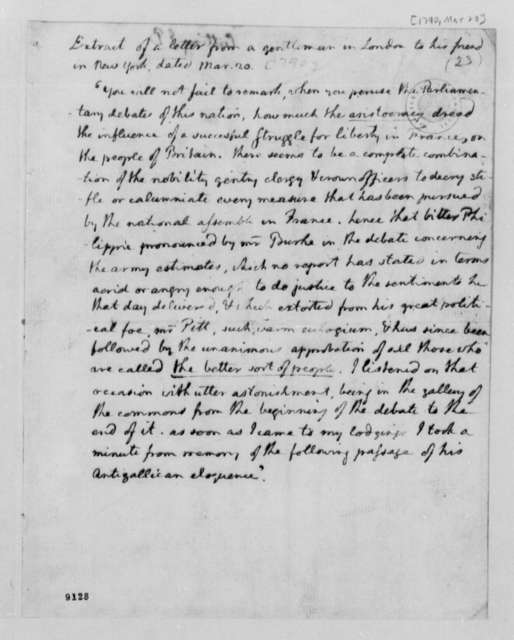 Thomas Jefferson, March 20, 1790, Extract of Letter from a Gentleman in London to his Friend in New York