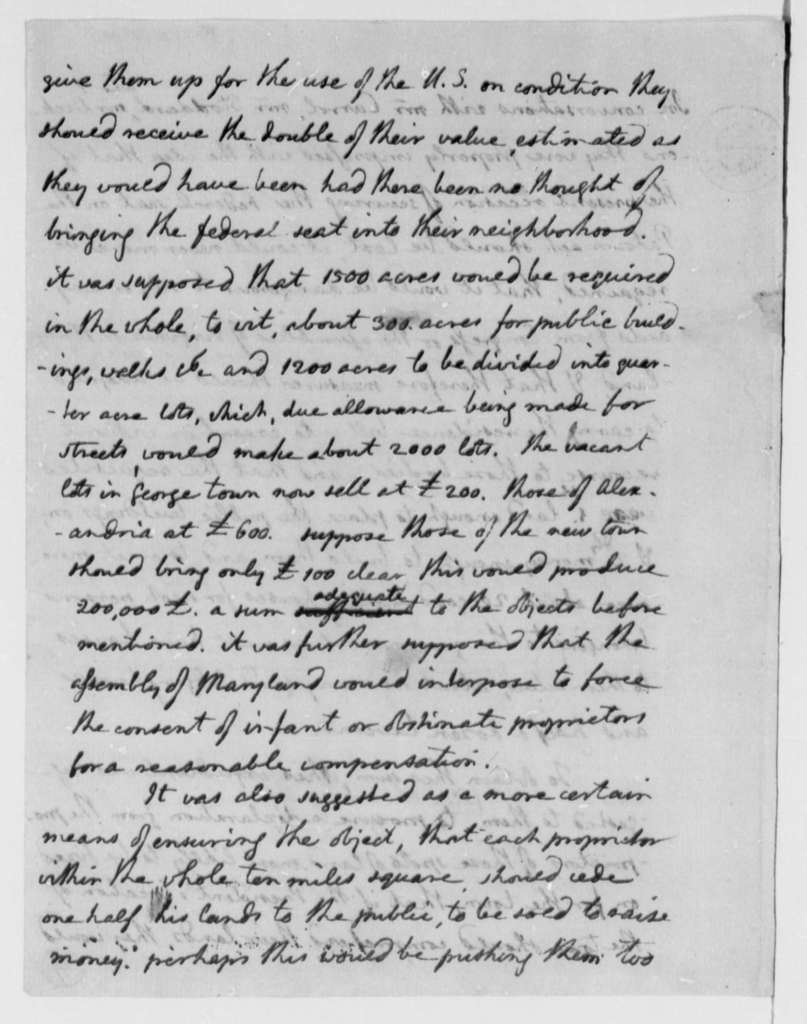Thomas Jefferson, September 14, 1790, Washington, D.C., Residence Bill