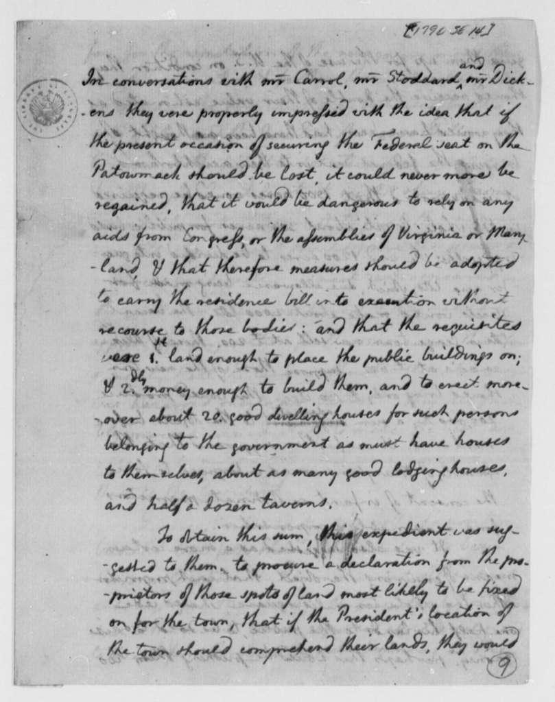 Thomas Jefferson, September 14, 1790, Washington, D.C., Residence Bill
