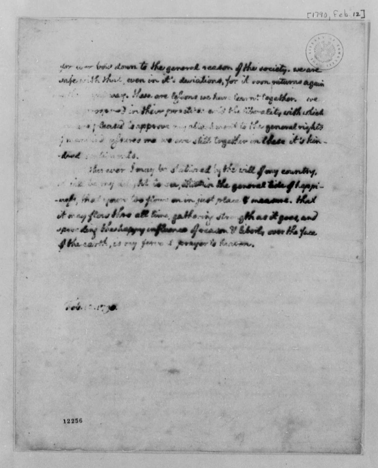 Thomas Jefferson to Albermarle County, Virginia, Citizens, February 12, 1790, with Draft