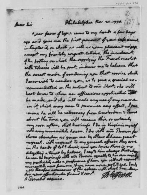 Thomas Jefferson to Alexander Donald, November 24, 1790, with Copy