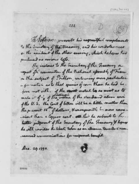 Thomas Jefferson to Alexander Hamilton, December 29, 1790