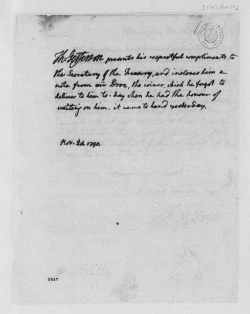 Thomas Jefferson to Alexander Hamilton, November 24, 1790
