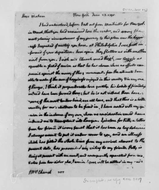 Thomas Jefferson to Angelica Schuyler Church, June 23, 1790, with Copy