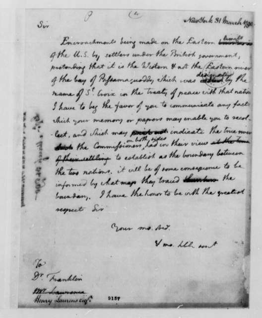 Thomas Jefferson to Benjamin Franklin and Henry Laurens, March 31, 1790