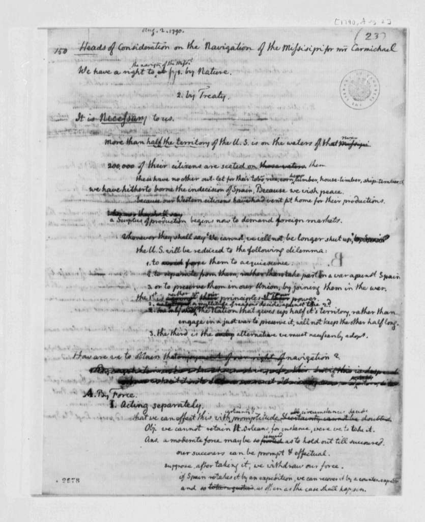 Thomas Jefferson to Carmichael, August 2, 1790, Considerations on Navigation of the Mississippi
