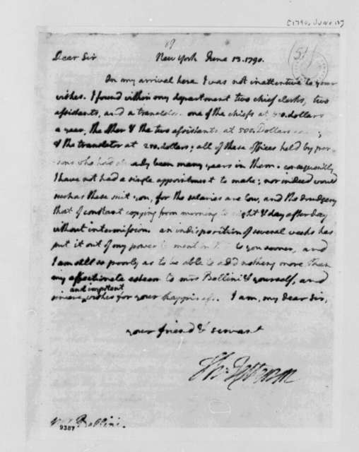Thomas Jefferson to Charles Bellini, June 13, 1790