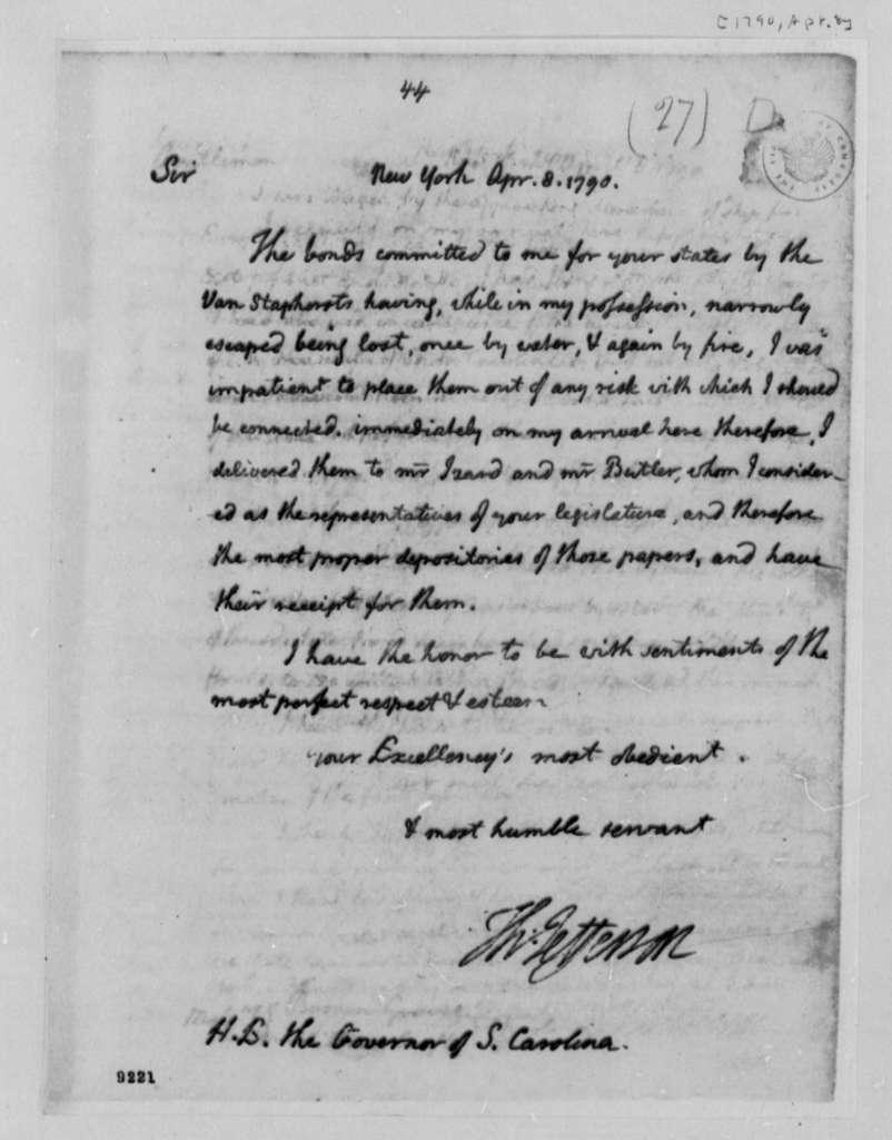 Thomas Jefferson to Charles Pinckney, April 8, 1790, with Copy
