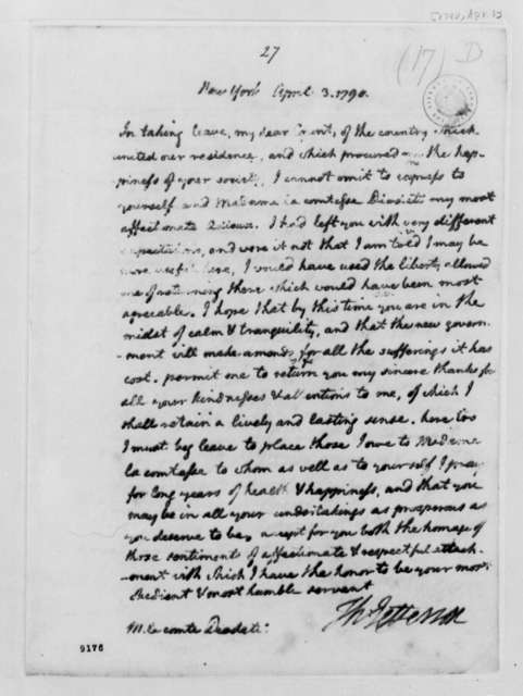Thomas Jefferson to Count Diodati, April 3, 1790