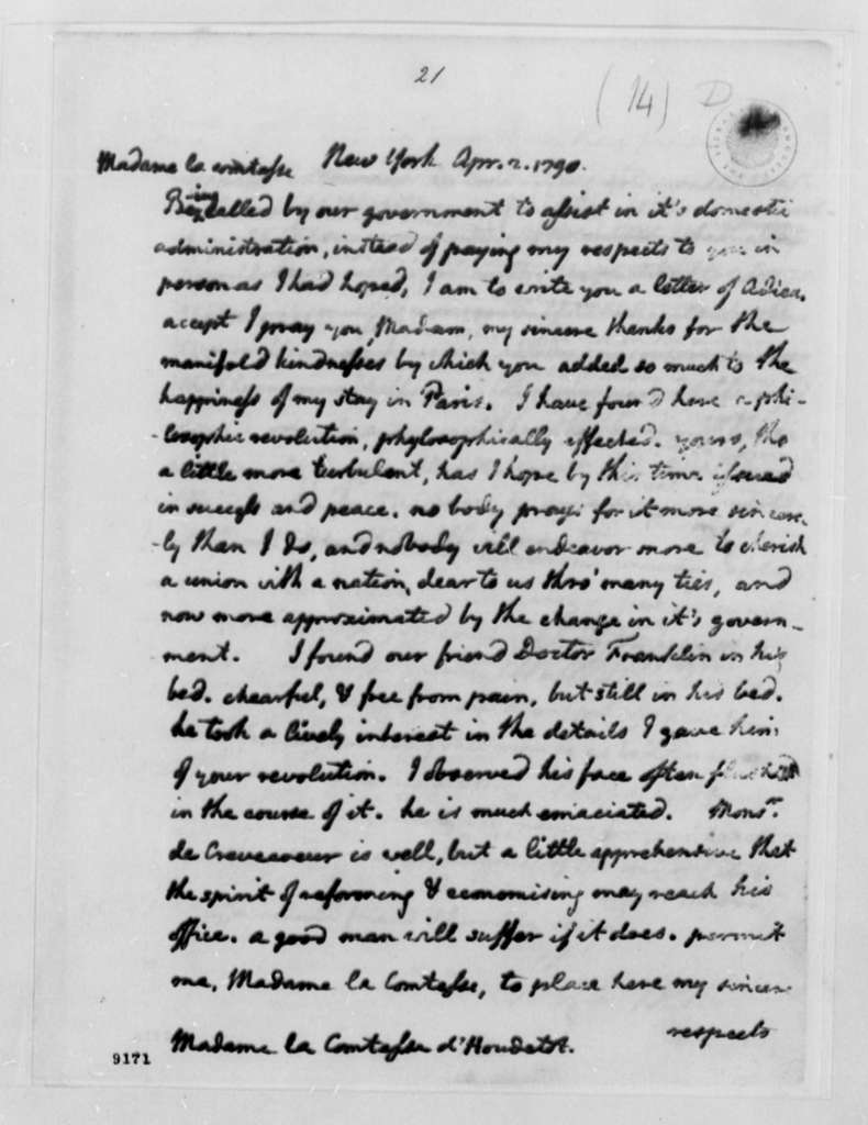 Thomas Jefferson to Countess D'Houdetot, April 2, 1790