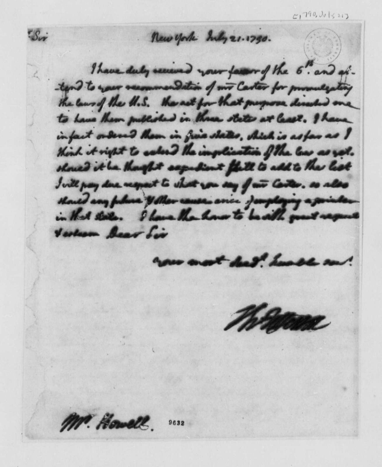 Thomas Jefferson to David Howell, July 21, 1790