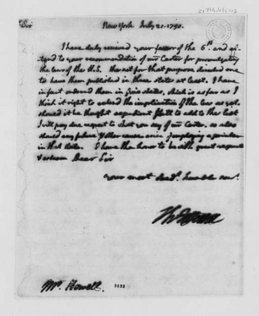 Thomas Jefferson to David Howell, July 21, 1790