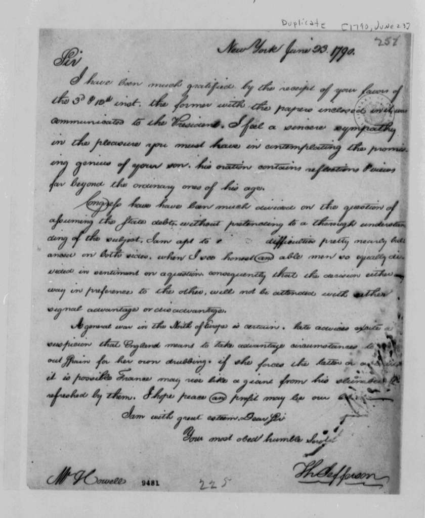 Thomas Jefferson to David Howell, June 23, 1790, with Copy