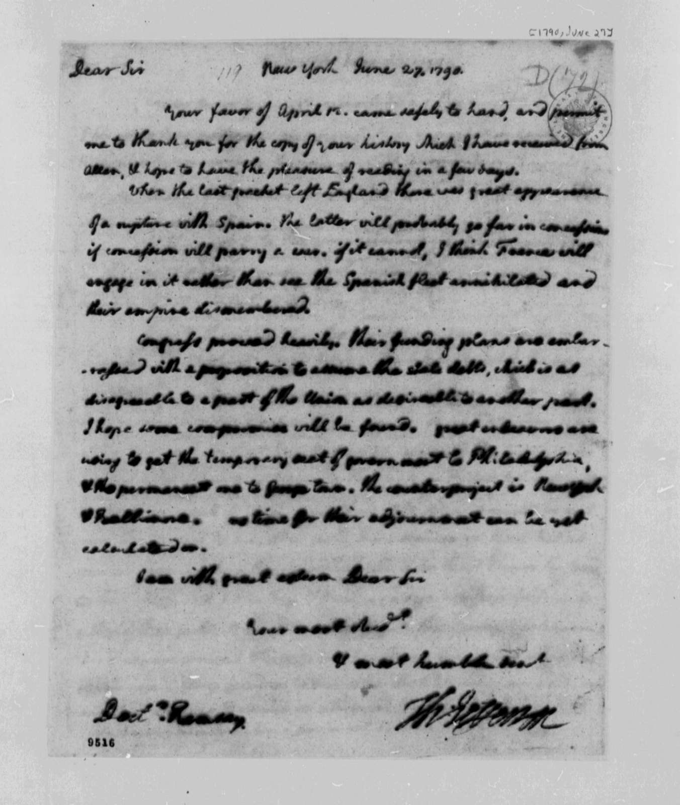 Thomas Jefferson to David Ramsay, June 27, 1790, with Copy; Partial Transcription Available