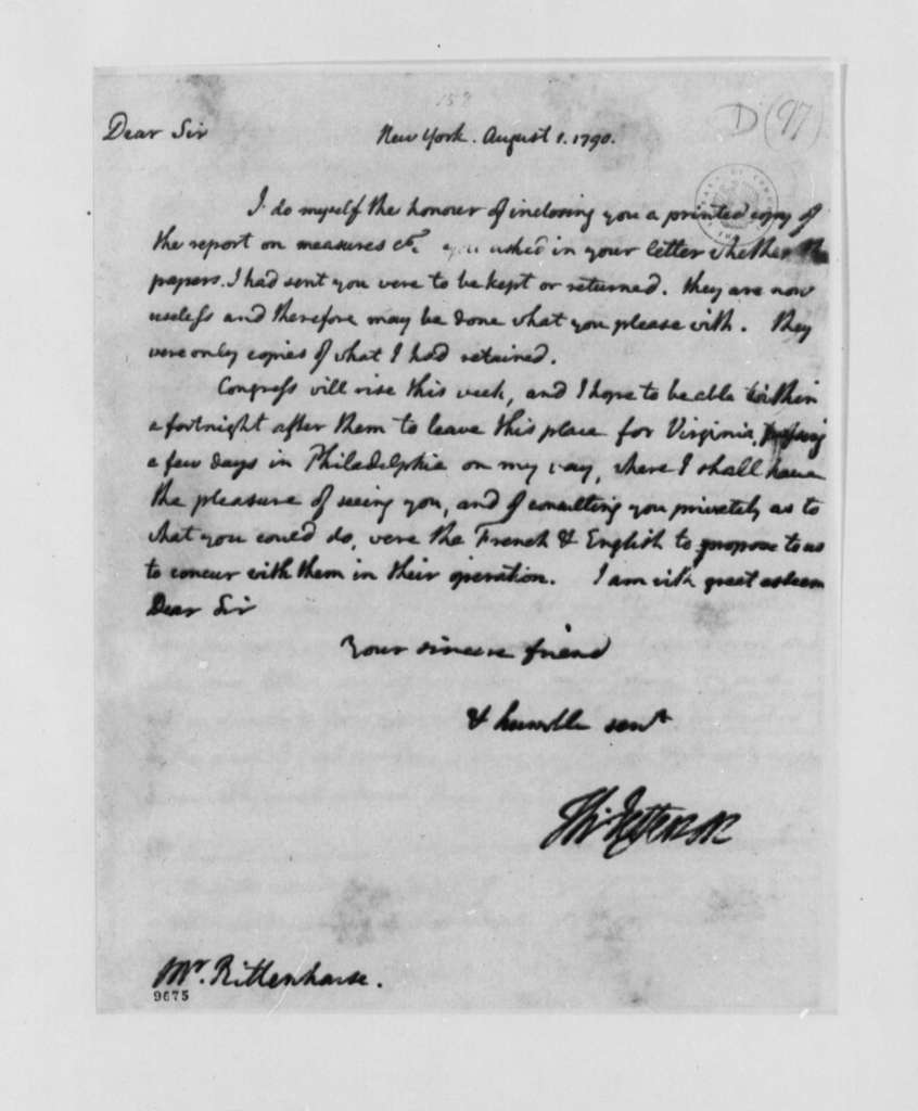 Thomas Jefferson to David Rittenhouse, August 1, 1790, with Copy
