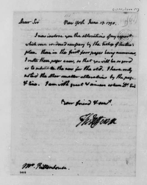Thomas Jefferson to David Rittenhouse, June 17, 1790