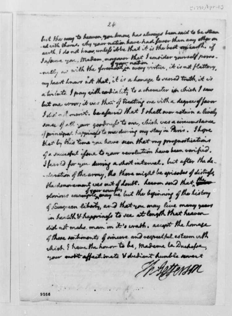 Thomas Jefferson to Duchess D'Enville, April 2, 1790