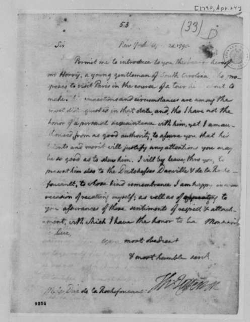 Thomas Jefferson to Duke la Rouchefoucauld, April 24, 1790