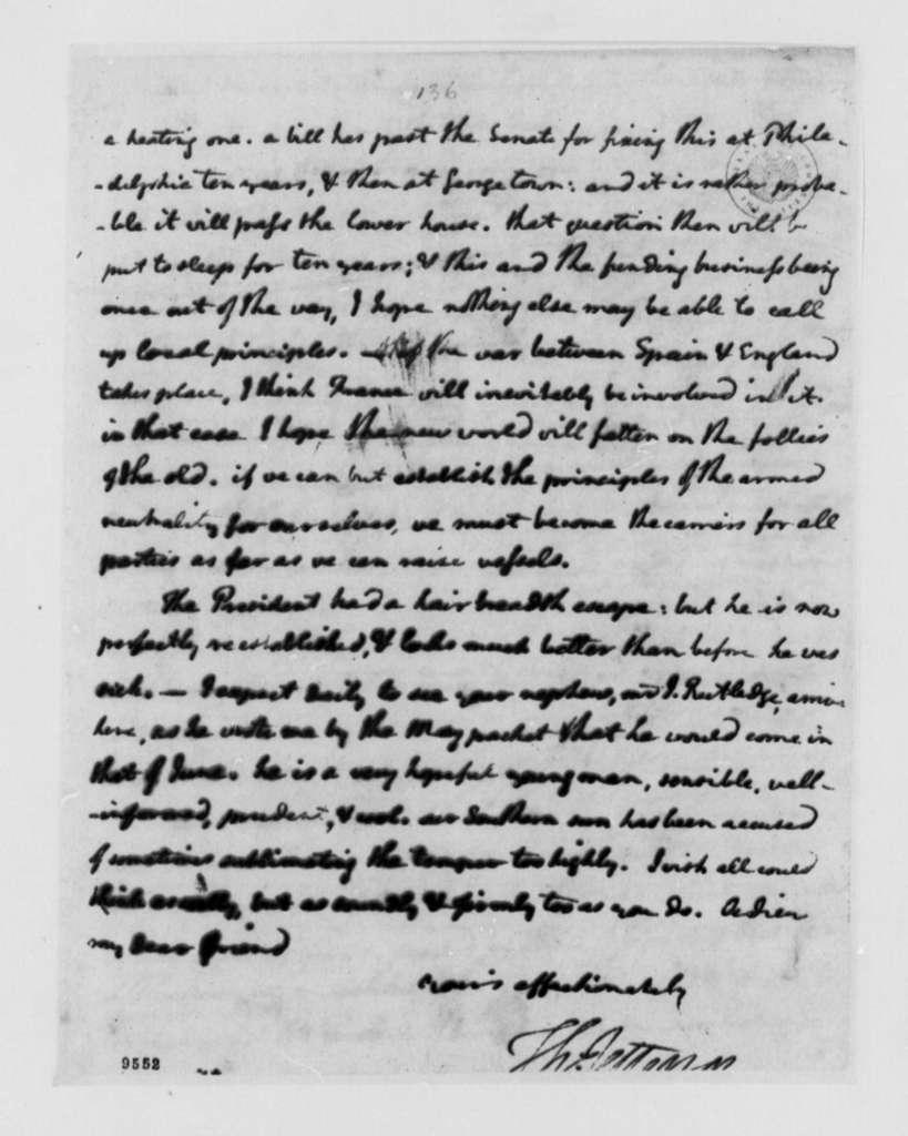 Thomas Jefferson to Edward Rutledge, July 4, 1790