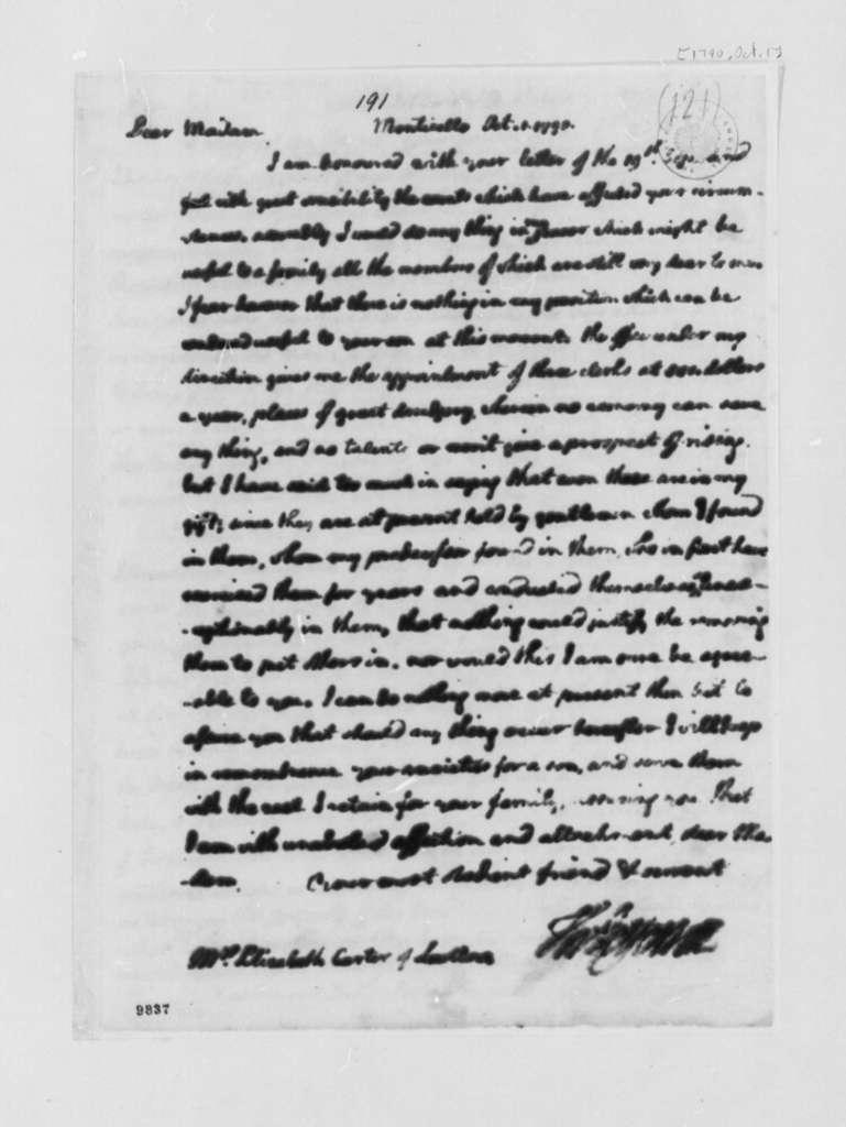 Thomas Jefferson to Elizabeth Carter, September 10, 1790, Imports and Exports