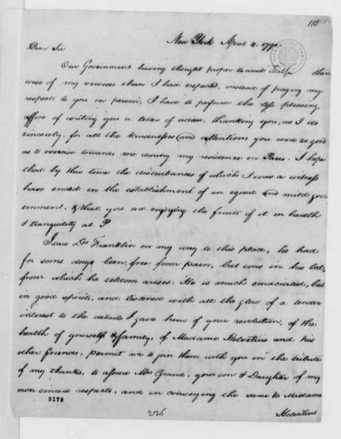 Thomas Jefferson to Ferdinand Grand, April 4, 1790, with Copy