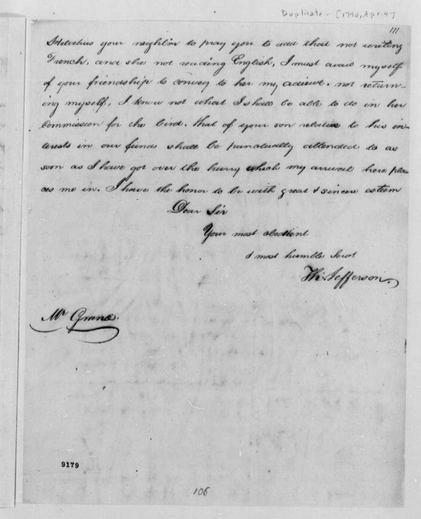 Thomas Jefferson to Ferdinand Grand, April 4, 1790, with Copy
