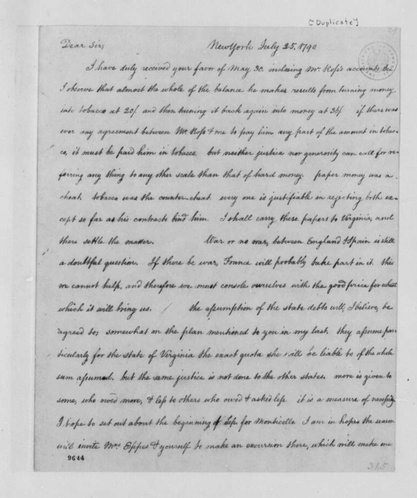 Thomas Jefferson to Francis Eppes, July 25, 1790
