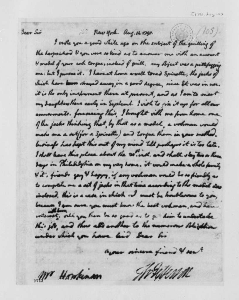 Thomas Jefferson to Francis Hopkinson, August 14, 1790, with Copy