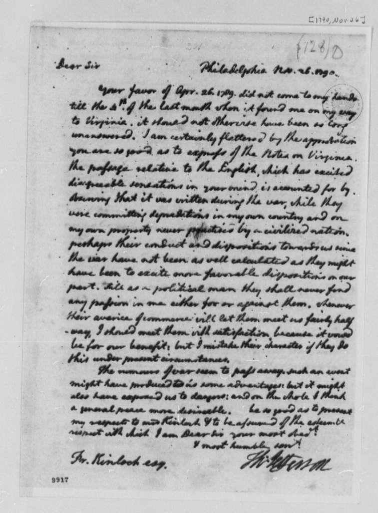 Thomas Jefferson to Francis Kinloch, November 26, 1790