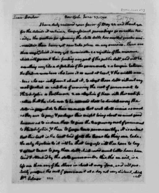Thomas Jefferson to George Gilmer, June 27, 1790