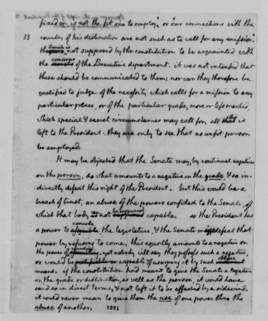 Thomas Jefferson to George Washington, April 24, 1790, Opinion on Right of Senate to Negate Diplomatic Grades Specified by President, with Copy