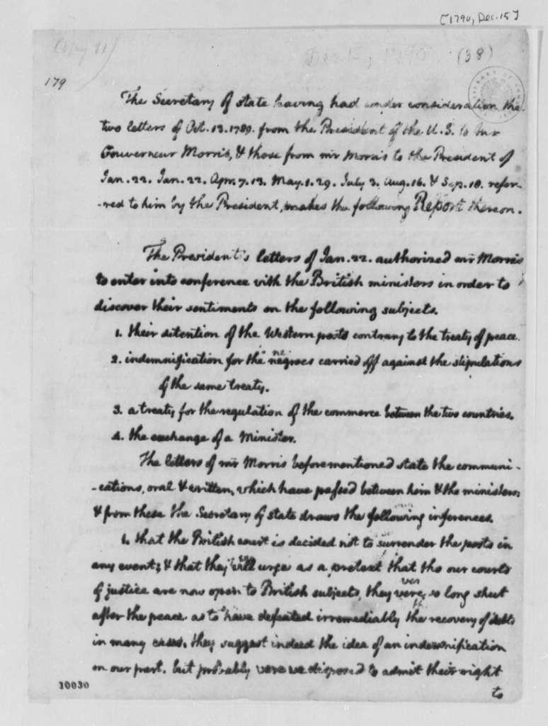 Thomas Jefferson to George Washington, December 15, 1790, Report