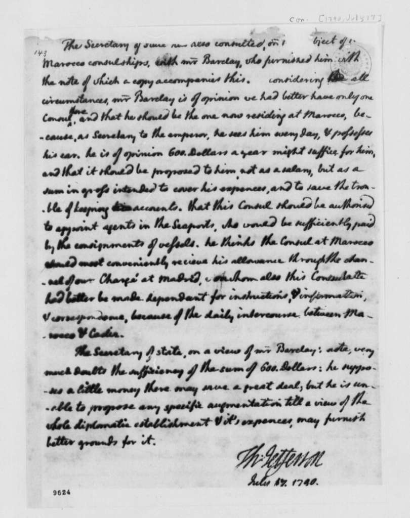 Thomas Jefferson to George Washington, July 17, 1790, Bill on Relations with Foreign Nations