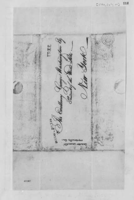 Thomas Jefferson to George Washington, July 20, 1790, Cover Only
