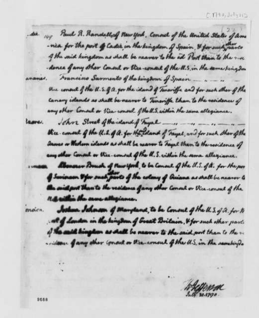 Thomas Jefferson to George Washington, July 31, 1790, List of Appointments