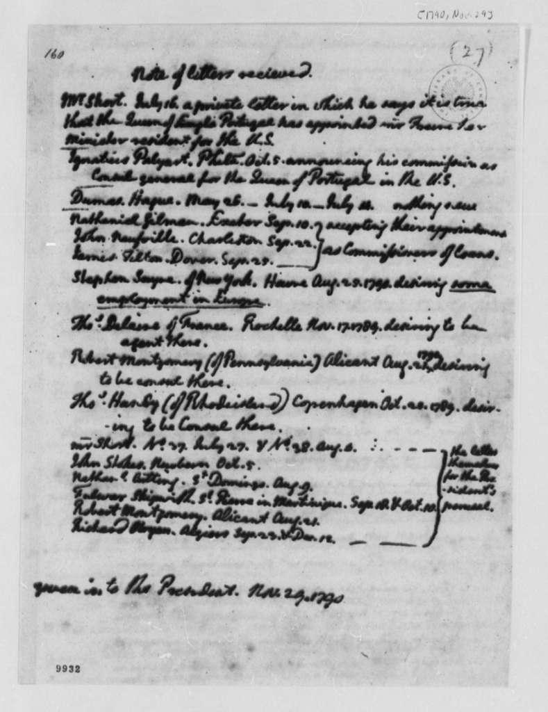 Thomas Jefferson to George Washington, November 29, 1790, Note of Letter Received