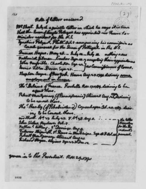 Thomas Jefferson to George Washington, November 29, 1790, Note of Letter Received