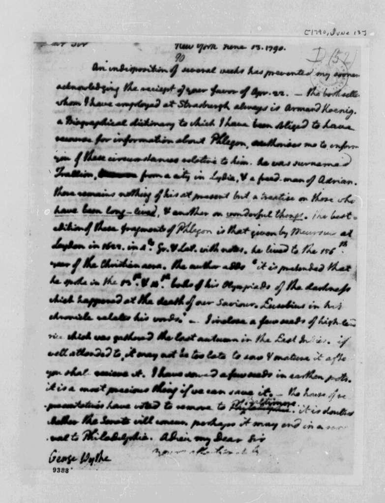 Thomas Jefferson to George Wythe, June 13, 1790