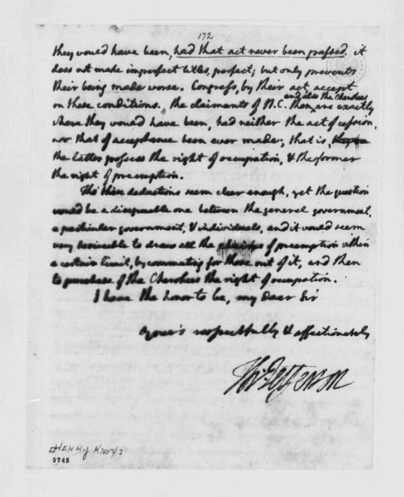 Thomas Jefferson to Henry Knox, August 26, 1790