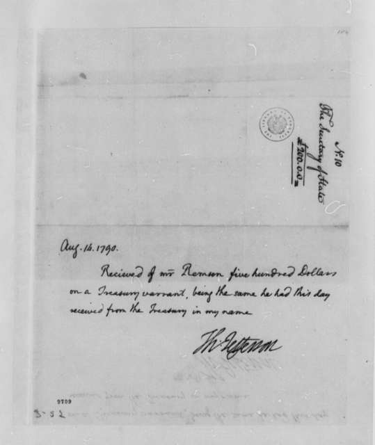Thomas Jefferson to Henry Remsen, Jr., August 14, 1790, Receipt