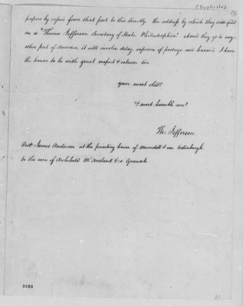 Thomas Jefferson to James Anderson, December 2, 1790, with Copy