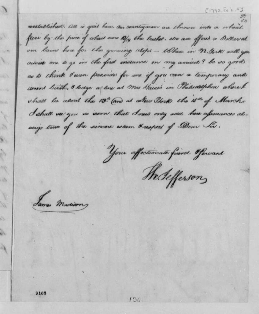 Thomas Jefferson to James Madison, February 14, 1790