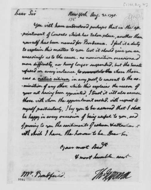 Thomas Jefferson to John Bondfield, August 31, 1790