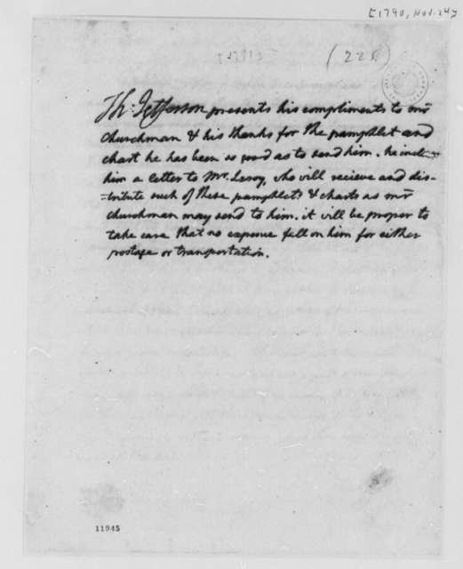 Thomas Jefferson to John Churchman, November 24, 1790