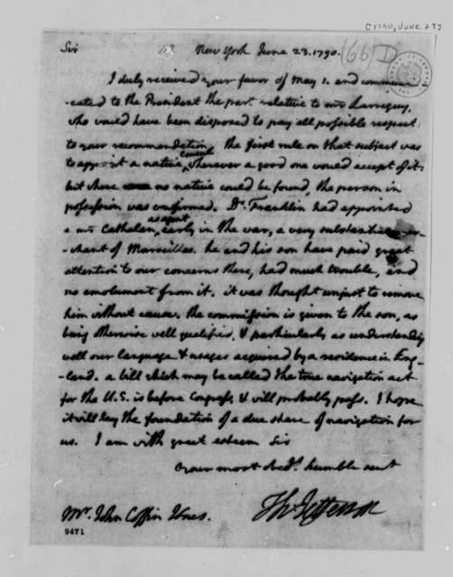 Thomas Jefferson to John Coffin Jones, June 23, 1790