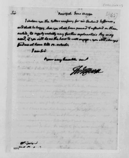 Thomas Jefferson to John Garland, June 11, 1790