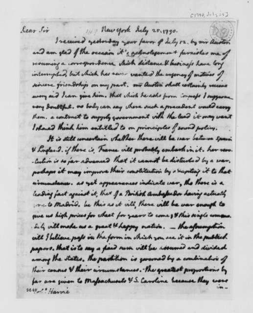 Thomas Jefferson to John Harvie, July 25, 1790, with Copy