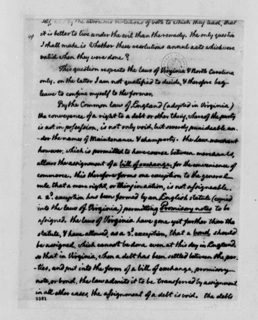 Thomas Jefferson to John Steele, June 3, 1790